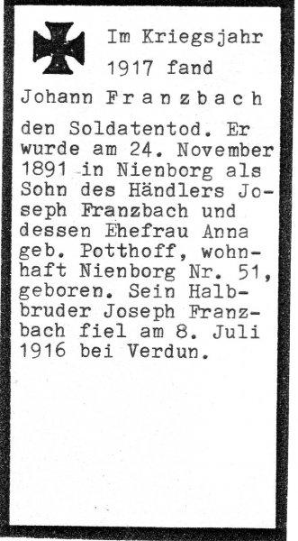 Franzbach, Johann b