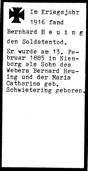 Heuing, Bernhard a