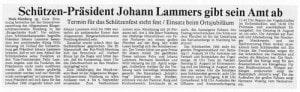 Präsident Lammers gibt Amt ab